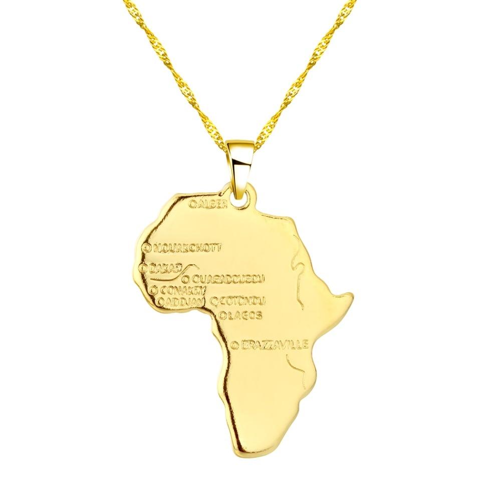 CHENHXUN CHENGXUN кулон Карта Африки ожерелье подарок золотой цвет длинная цепочка торговля Африканская Карта для мужчин и женщин модный подарок для ювелирных изделий - Окраска металла: 01