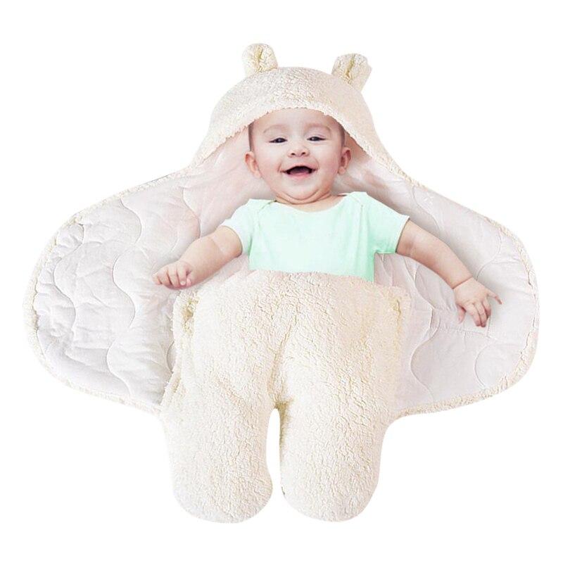 CYSINCOS Drop Shipping Warm Baby Blanket Cartoon Ears Toddler Swaddle Winter Newborn Swaddling Wrap Sleeping Bag Bed Crib