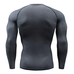 Image 2 - Tシャツランニングシャツ男性圧縮タイツフィットネス格闘技長袖ボディービルtシャツジム男性tシャツの実行