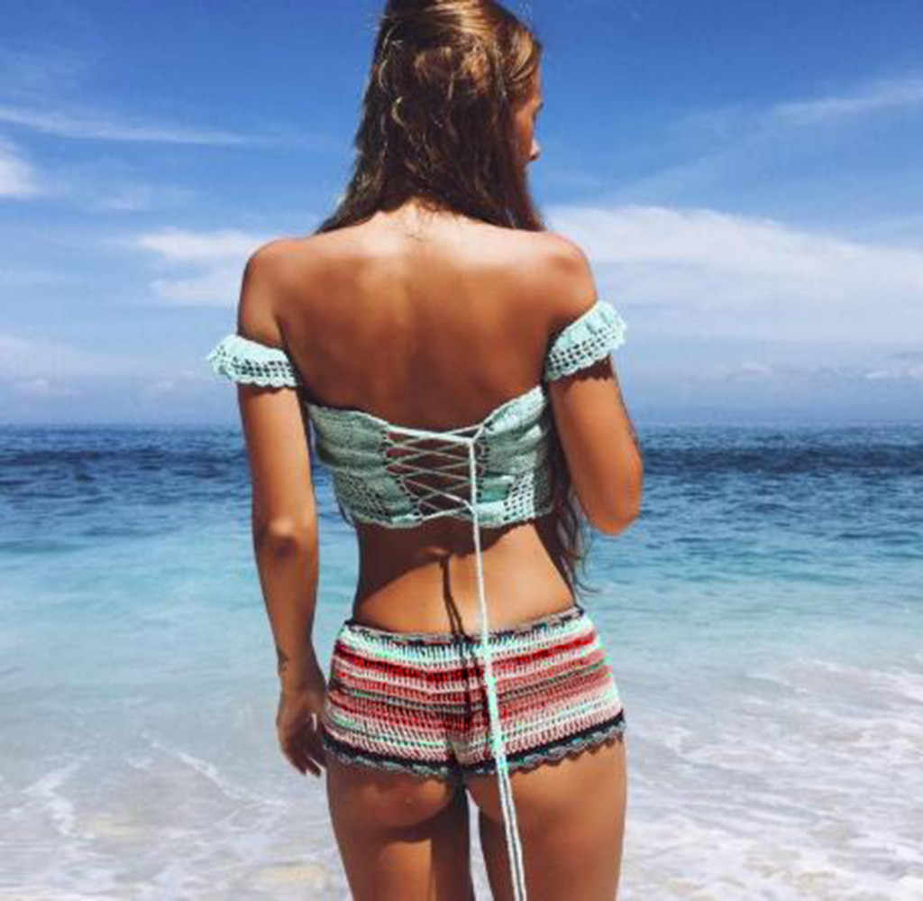 Gemengde Kleurrijke Streep Gebreide Gehaakte Shorts Vrouwen Mode 2020 Zomer Elastische Lage Taille Shorts Strand Strakke Shorts Bottom