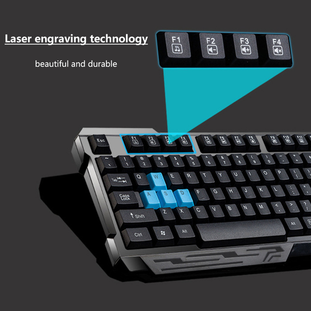 2.4G Wireless Connection Gaming Keyboard & Mouse Set Splashproof Auto Sleep Long Battery Life for Office Home computer gamer 4