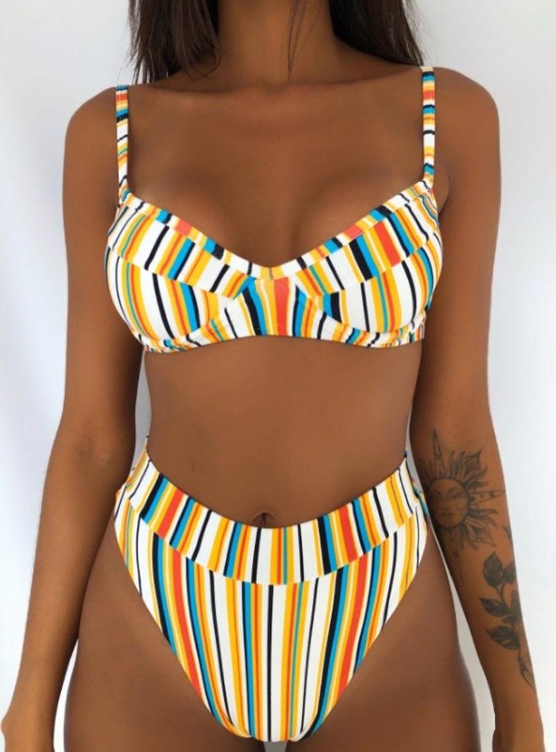 H12d5d1469fa74e2a9dcddbe823eec1afU Hot Sale Off The Shoulder Print Ruffled Bikini Mujer 2018 New Sexy Swimwear Women Swimsuit Brazilian Bikini Set Thong Biquinis