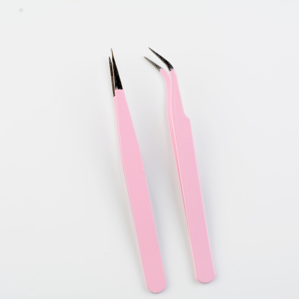 2020 Hot Sale New 2PCS Stainless Steel Pink Straight + Bend Tweezer For Eyelash Extensions Nail Art Nippers