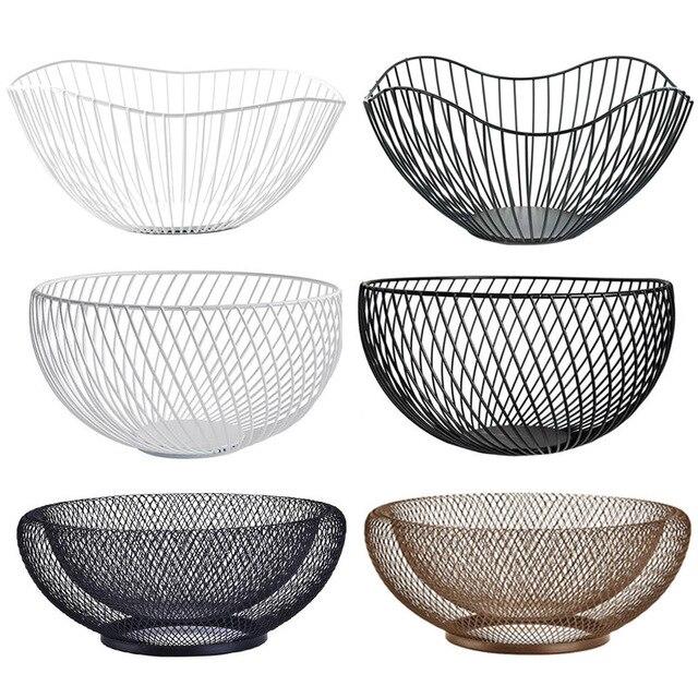 2019 New Nordic Storage Baskets White Black Metal Art Snacks Candy Fruit Basket For Living Room Desktop Kitchen Organizer Basket 5