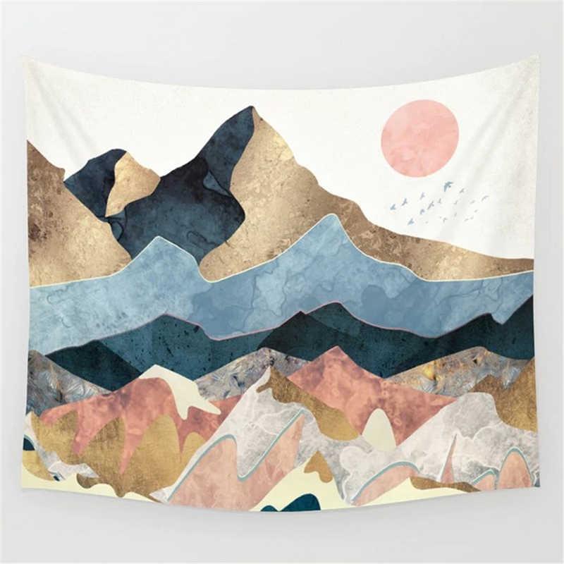 北欧ピンク山タペストリーマクラメ壁抽象ヒッピー自由奔放に生きる女性壁カーペット布サイケデリックタペストリー世界地図