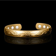 Healthcare 18K Gold-plated Open Bracelet Magnetotherapy Handwear Fast-selling Copper Popular Jewelry Wholesale