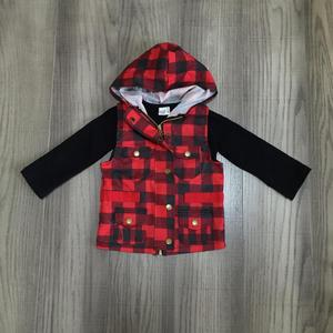 Image 2 - fall/winter baby girls cotton long sleeve vest top t shirt mommy & me plaid hoodie raglans children clothes match t shirt top