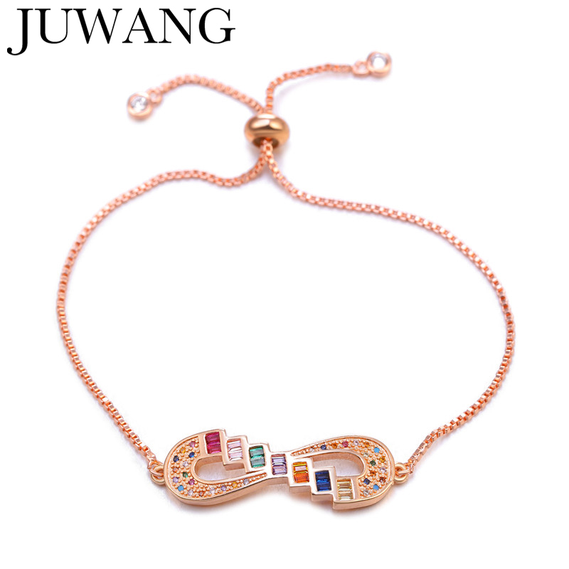 Trendy Lady Charm Cubic Zirconia Bracelet Infinity Bracelets Adjustable Wedding Bangles rose gold For Women Jewelry pulseiras