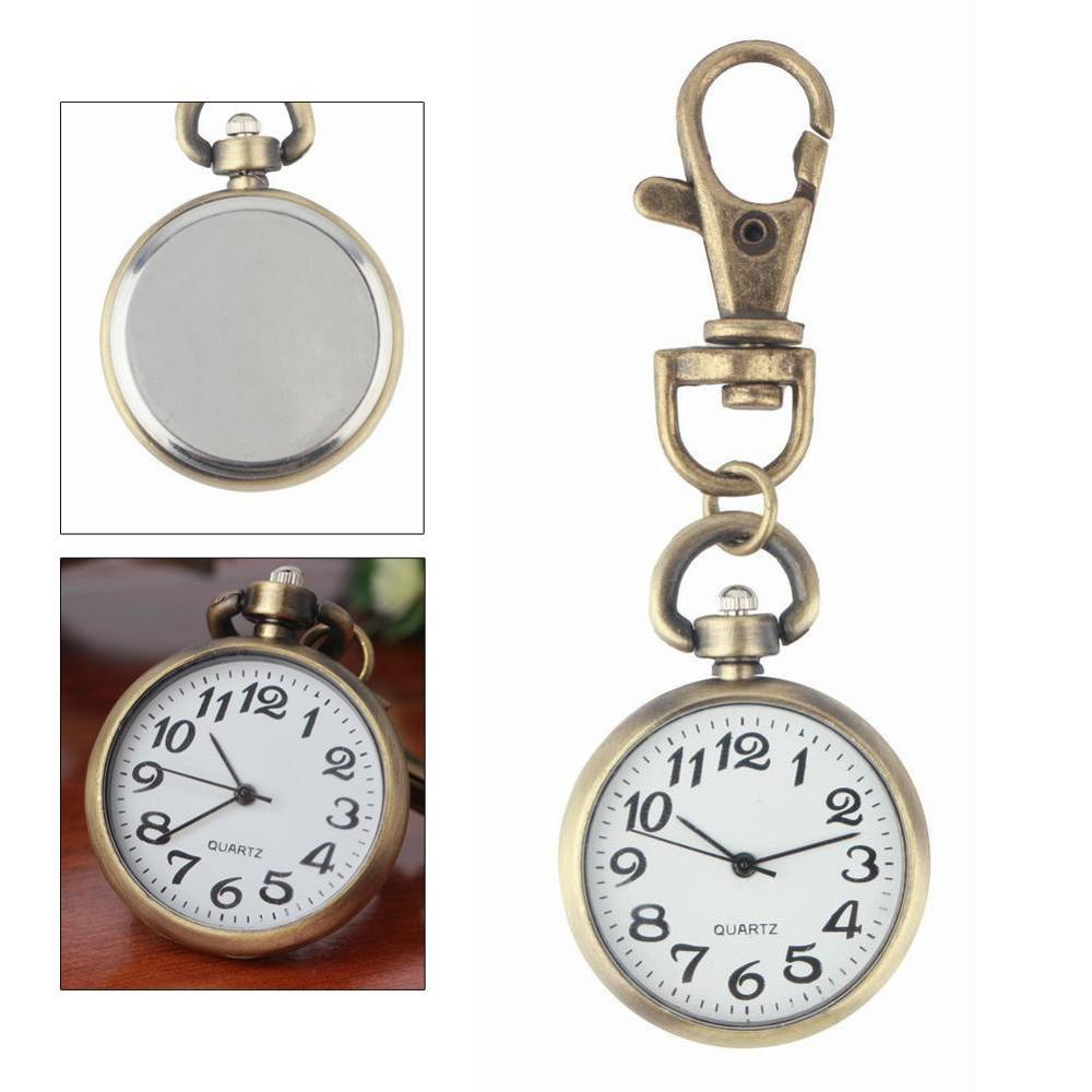 Retro Bronze Quartz Movement Keychain Keyring Watch  Watch Round Dial