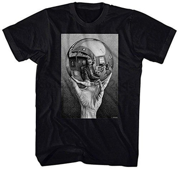 Camiseta nueva moda novedosa 2018 para hombre, Camiseta lisa de línea para hombre M.C. Camiseta Escher reflectante de esfera muscular