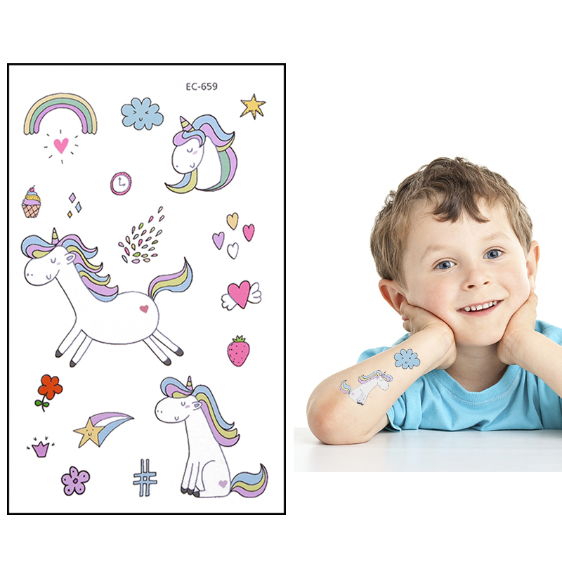 5pcs Cartoon Unicorn Theme Tattoo Stickers Temporary Animal Rainbow Pattern Paster Kids Birthday Party Supplies DIY Decoration-5