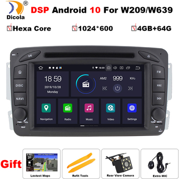 2 din PX6 DSP 4G+64G Hexa Core Android 10 HD IPS 4+64G car Autoradio for Benz/W209/W203/W168/M/ML/W163/Viano/W639/Vito/Vaneo image