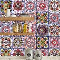 유럽 스타일 다채로운 레트로 시뮬레이션 타일 벽 스티커 욕실 주방 문 장식 벽지 방수 PVC 아트 벽화 벽걸이 스티커 홈 & 가든 -