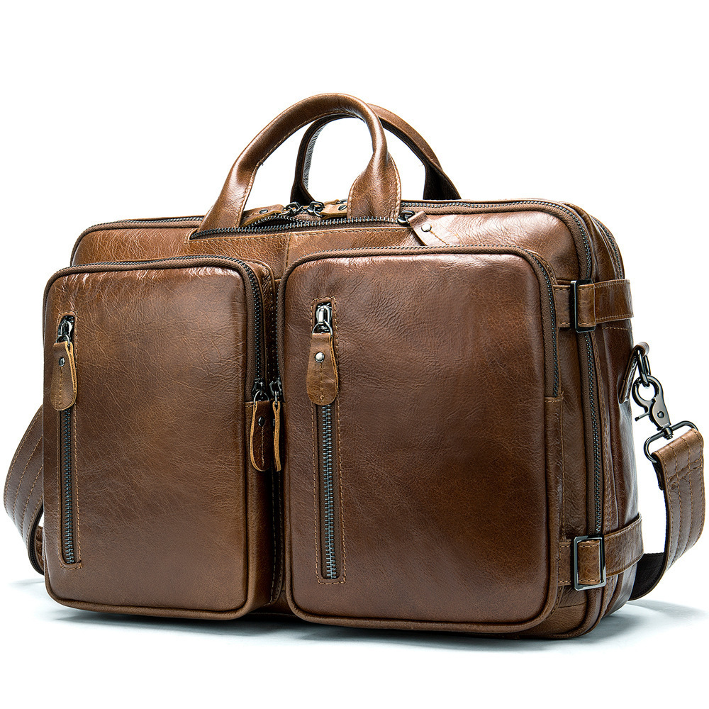 Genuine Leather Business Affairs Man Package Will Capacity Portable Computer Cross Section Single Shoulder Messenger Briefcase