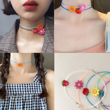 New 2019 Korea Chic Flower Button  Colorful Acrylic Fruit Sweet Short Chain Necklace Bracelet For Women Jewelry Gifts Party chic dry flower necklace for women