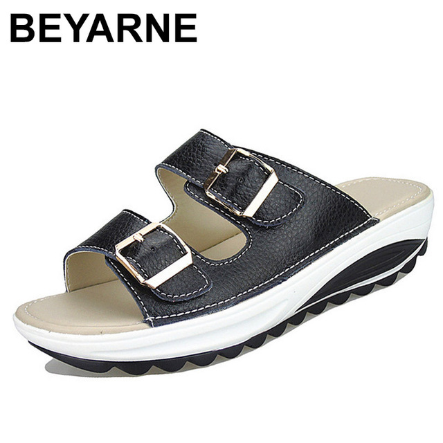 BEYARNE  Womens Sandals Slippers Buckle Beach Summer Wedges Platform Shoes Casual Candy Color Slides