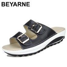 BEYARNE Womens 샌들 슬리퍼 버클 비치 여름 웨지 플랫폼 신발 캐주얼 캔디 컬러 슬라이드