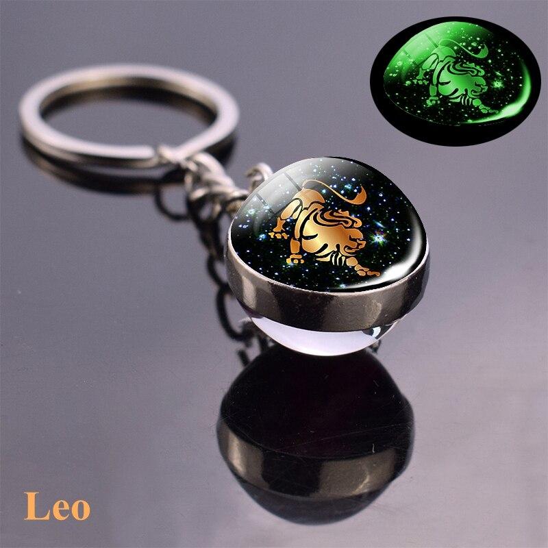 Luminous Zodiac Keychain Keyholder Glow In The Dark Glass Ball Key Chain Trinkets Men Women Birthday Gift 5