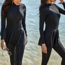 Women Swimsuit Long-sleeve One-piece Sports Swimsuit Plus Size Sunscreen Conservative Solid Color Swimwear Swimming Suits 5XL