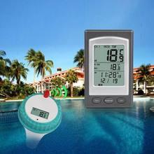 Flutuante termômetro sem fio piscina termômetro banheira de hidromassagem casa nadar medidor de temperatura calendário despertador-40 6060c