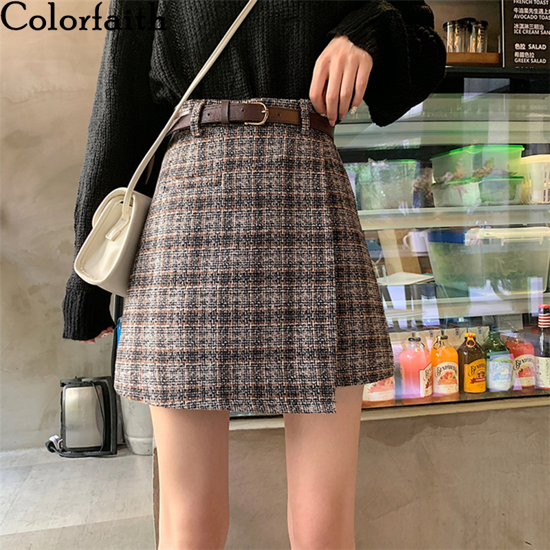 Colorfaith New 2020 Spring Summer Women Skirts High Waist Irregular Plaid Fashionable Wild Midi Femininas Vintage Skirt SK2911
