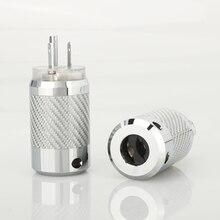 Conector macho y hembra de fibra de carbono, rodio plateado, bricolaje, alimentación de CA, enchufe IEC EU US