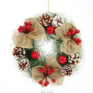 Image 2 - Inverno Rustico Impiccagioni di Natale Decorazione Della Casa Accessori Di Natale Decorazioni per La Casa Bianca Neve Corona con Le Stelle Porta Corona di natale