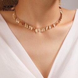 Tocona charmante feuille gland chaîne collier ras du cou pour les femmes 2020 à la mode en alliage d'or métal réglable fête bijoux 15728