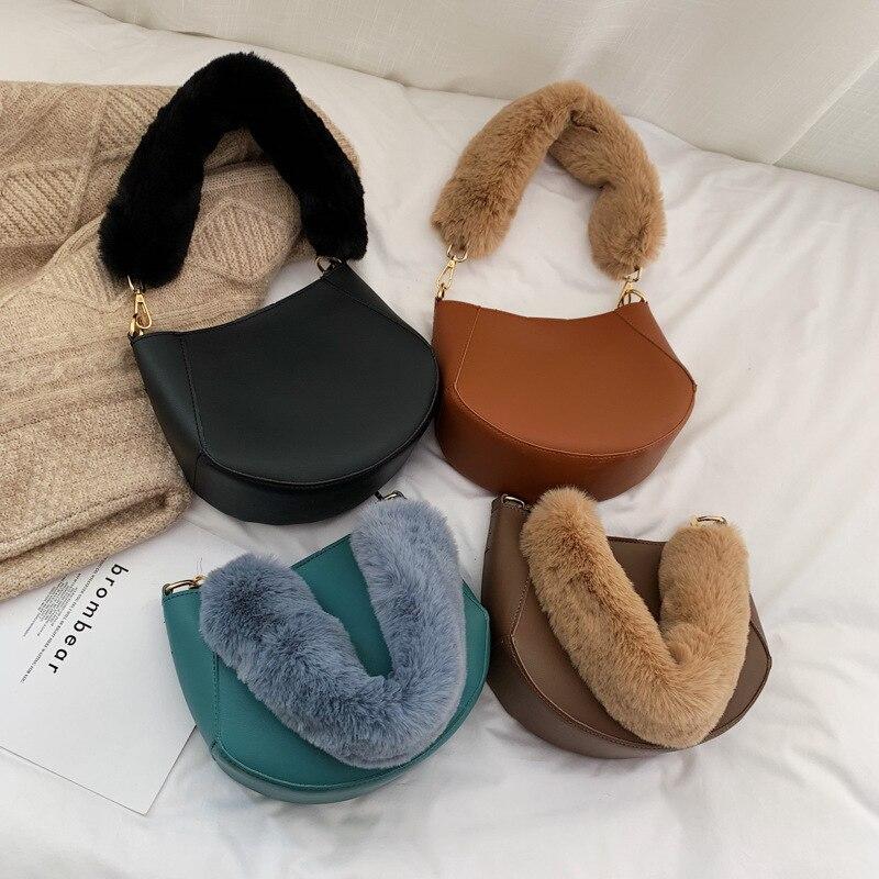 INS Super Feuer Kleine Tasche 2019 Herbst Und Winter Neue Stil Koreanische-stil Mode Plüsch dan bei bao Mini schulter Sattel Tasche Frauen