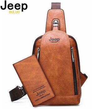 JEEP BULUO Brand Travel Hiking Cross Body Messenger Shoulder Bags Men's Large Capacity Chest Sling Bag Solid Men Leather Bag