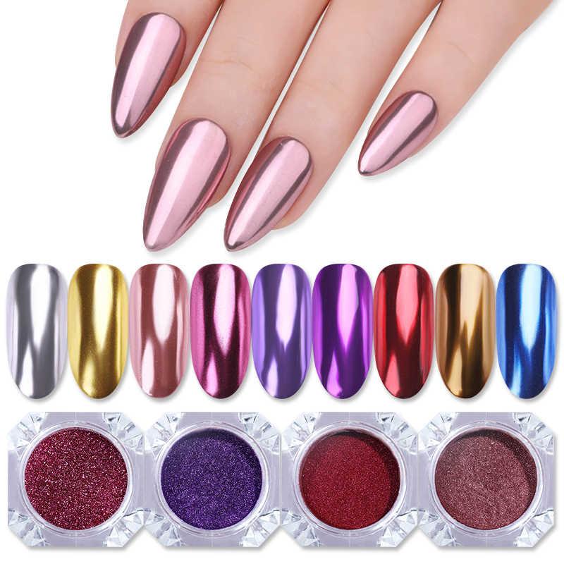 Rose Gold เล็บ Mirror Glitter ผงผงสีเมทัลลิคเล็บ UV เจลขัด Chrome Flakes Pigment ฝุ่นตกแต่ง