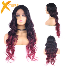 1B/99J/BURG Ombre Colored  Synthetic Lace Front Wigs Long Wave Black Brown Glueless 22 Inches Hair Lace Wig For Women X TRESS