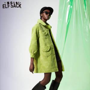Image 3 - ELFSACK Grün Solide Einreiher Graben Mantel Frauen 2019 Herbst Winter Spezielle Tasche Bischof Hülse Büro Damen Outwears