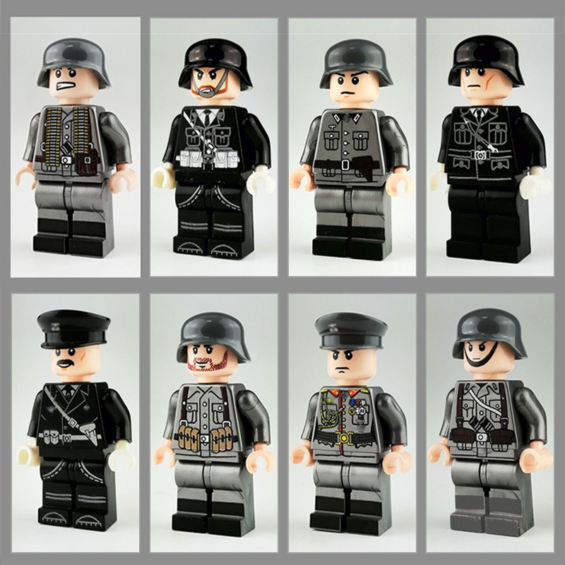 8Pcs/set Military Ww2 German Army Figures Army Soldiers Battle Steed Compatible Building Blocks Bricks Toy DIY Kids Gift