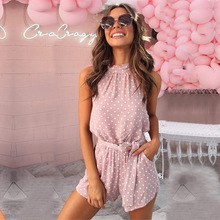 Chic polka dot jumpsuit romper women summer v neck playsuit romper beach holiday retro pink rompers pink playsuits