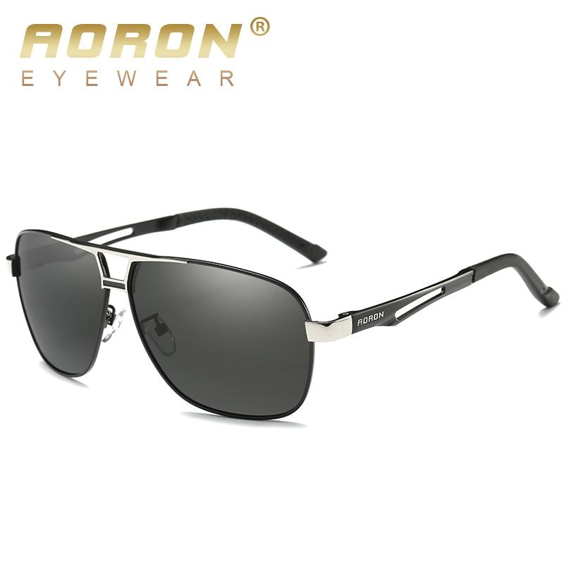 AORON Sunglasses Mens Polarized Sunglasses Aluminum Frame UV400 Sun Glasses Luxury Design Glasses Width 145mm