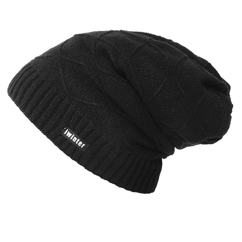 Fashion Men Winter Hat Thick Windproof Knitted Wool Beanies Male Outdoor Soft Warm Hats Casual Solid Ski Caps Accessories Gift