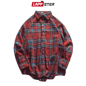 Image 5 - LAPPSTER Men Streetwear Plaid Wool Coats 2020 Mens Harajuku Vintage Korean Style Jackets Coats Male Hip Hop Jackets Windbreaker