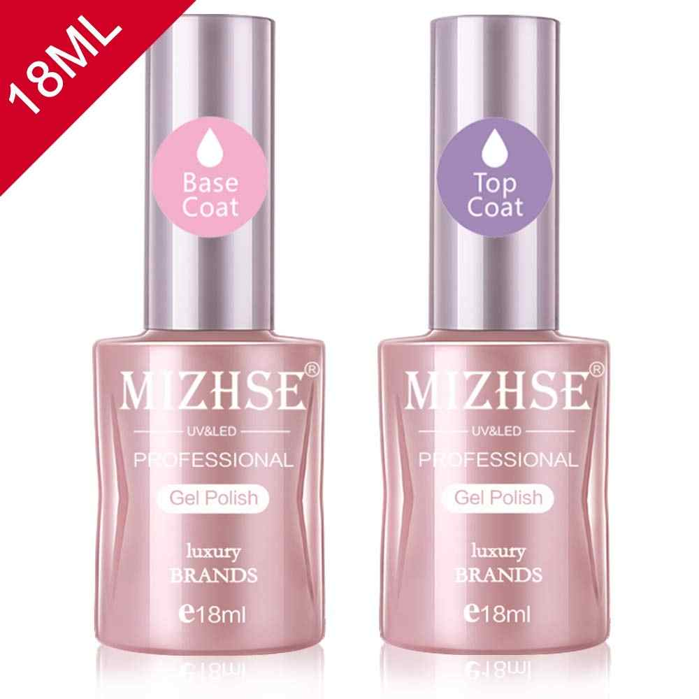 Mizhse 18 Ml Uv Gel Top Base Coat Set Gel Varnish Cat Kuku Kuku Seni LED Rendam Off Gel lacquer Dasar Karet Tidak Menghapus Top Gel Lak