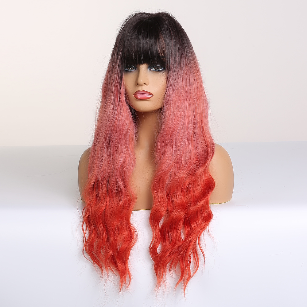 Image 4 - ALAN EATON Cosplay Long Wavy Hair Wigs Heat Resistant Synthetic Wigs for Women Natural Fake Hair with Bangs Black Red Ombre WigsSynthetic None-Lace  Wigs   -