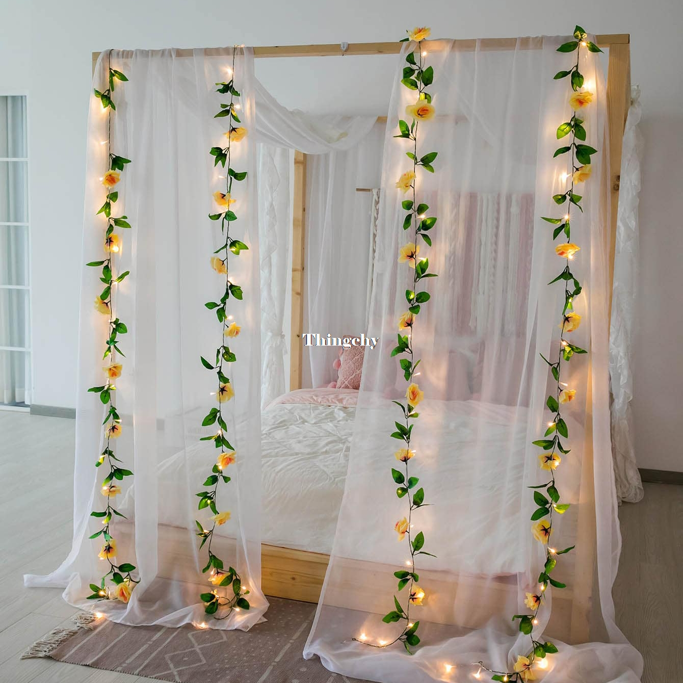2.4M Rose Flower Decorative Garland Battery Copper LED Fairy String Lights For Christmas Wedding Decoration Party Event