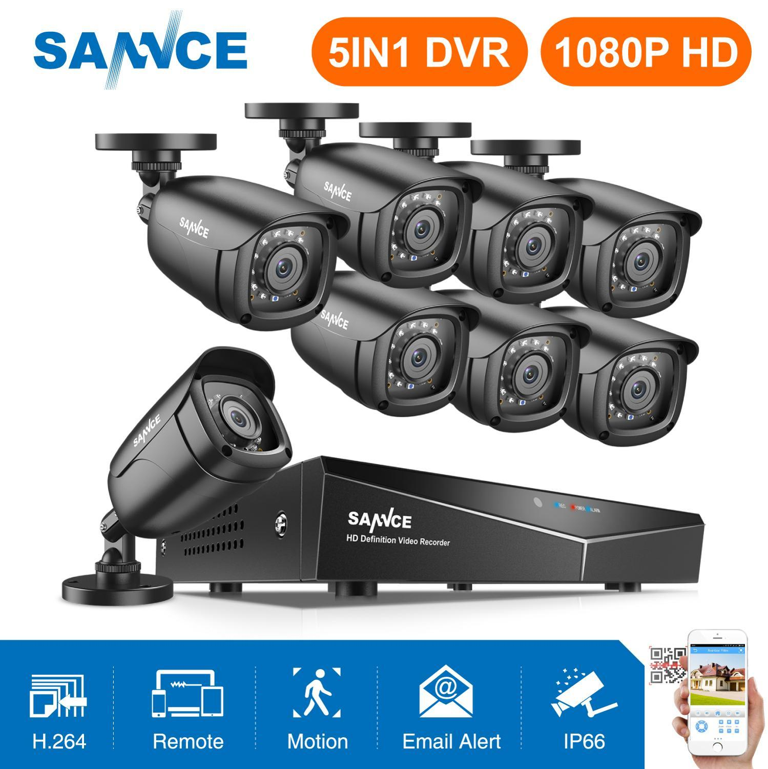 SANNCE 8CH 1080P Security CCTV System With 1080N 5IN1 DVR 4PCS 8PCS 1080P IR Outdoor Weatherproof Camera Video Surveillance Kit