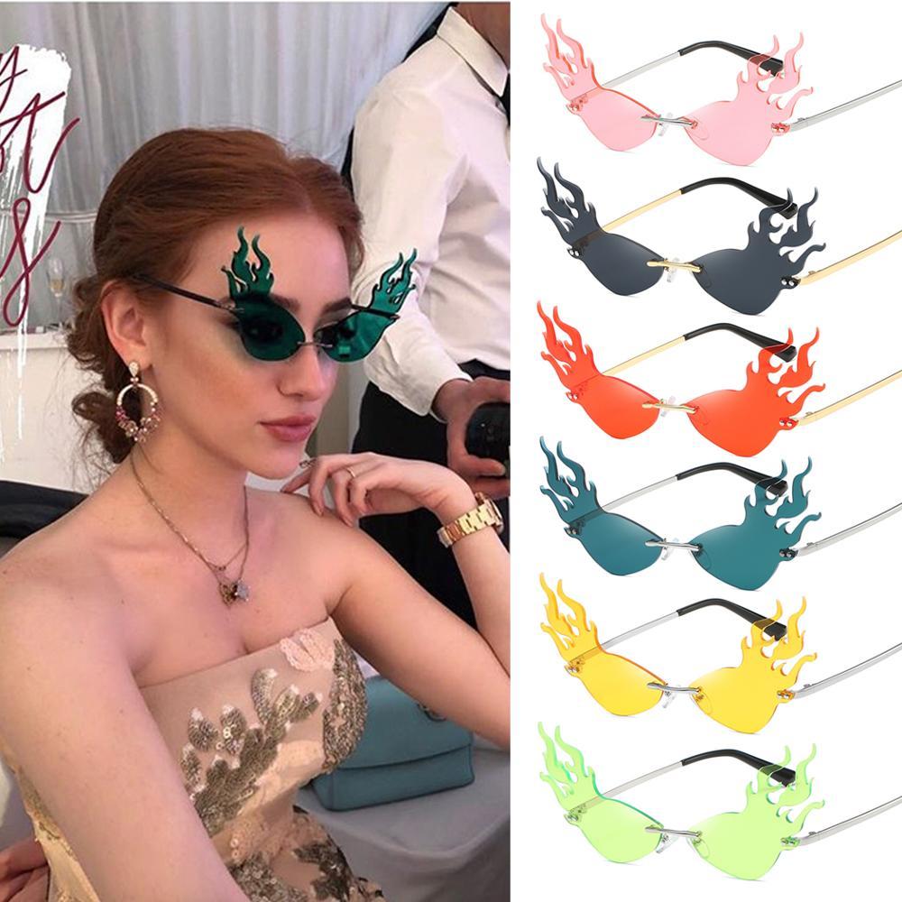Fashion Fire Wave Flame Sunglasses Women Men Rimless Sun Glasses Eyewear Luxury Trending Wide Side Party Sunglasses Streetwear