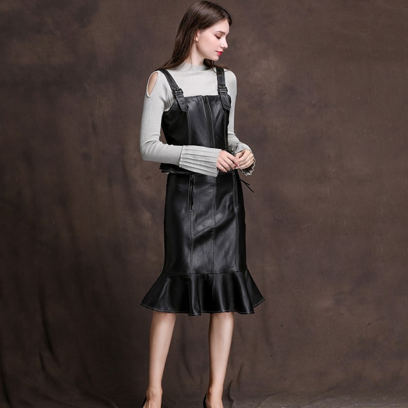 Women's Fashion Leather Skirt Leather Skirt Sheepskin Shirt Skirt Leather Skirt Leather Skirt 2 Room Leather Skirt Leather Skirt