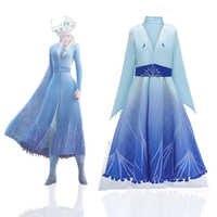 Mais novo vestido elsa crianças cosplay anna vestido azul para a menina traje de natal para meninas vestidos menina elsa vestido de princesa meninas
