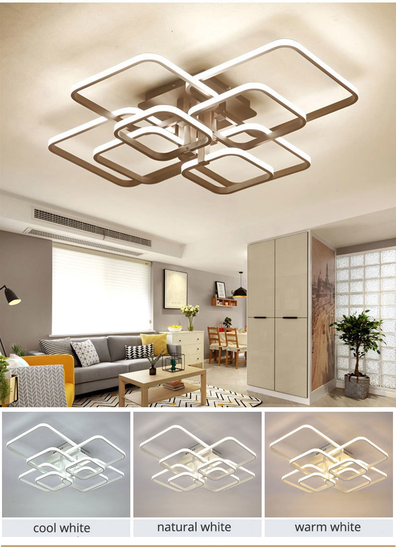 H12d82c90f6774a4f9500cc851e5425cfW Acylic Ceiling Lights Square Rings For Living Room Bedroom Home AC85-265V Modern Led Ceiling Lamp Fixtures lustre plafonnier