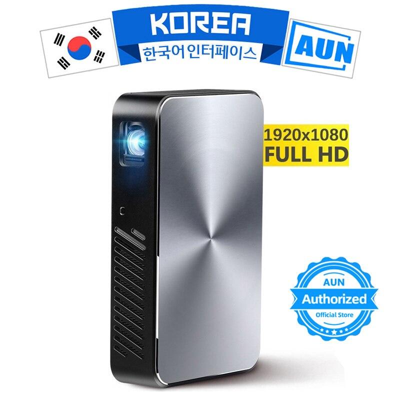 AUN projecteur intelligent J10, 1920x1080 P, batterie 6000 mAH, intégré Android, WIFI, HDMI. MINI Projector.1080P Home cinéma
