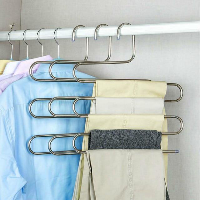 Multi-functional S-type trouser rack stainless steel multi-layer trouser rack traceless adult trouser hanger 3
