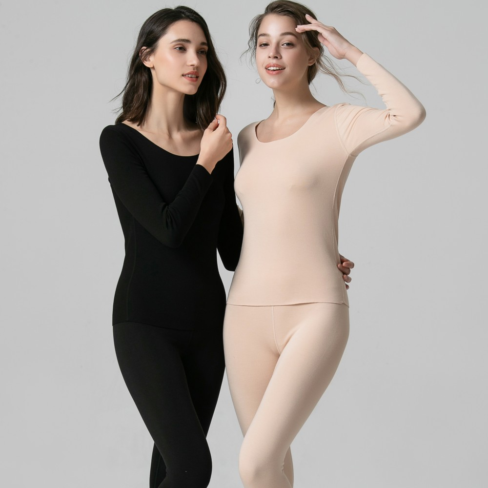 Women's Dralon Heat Thermal Underwear Sets Cashmere Touch O-Neck Fleece Keep Warm Long Johns 37℃  Seamless Long Sleeves