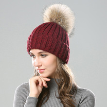 Women Hat Hair Fashion Knitting Ball 2019 New Autumn and Winter Casual Solid Wool Warm Cover Cap